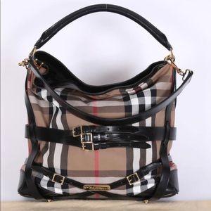 Burberry Nova Check Black Canvas Bridle Hobo Bag